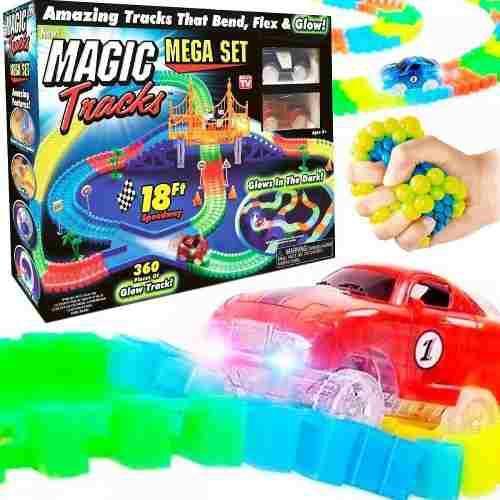 Оригинальная светящаяся детская дорога MAGIC TRACKS  360 деталей  2 машинки
