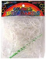 Гумки для плетіння однотонні міняють колір (Прозорі +гачок) Rainbow Loom Bands 200шт.