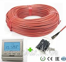 6м2. Комплект для теплого пола из нагревательного карбонового кабеля 33 ом/м 12К (60метров) с терморегулятором
