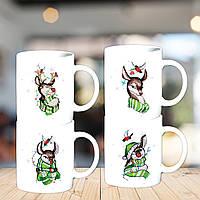 """Семейные белые чашки (кружки) с принтом """"Новый Год: Олени"""""""