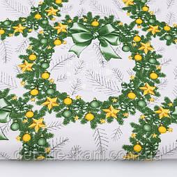 """Ткань новогодняя """"Рождественские веночки"""" жёлто-зелёные, №3037рас"""