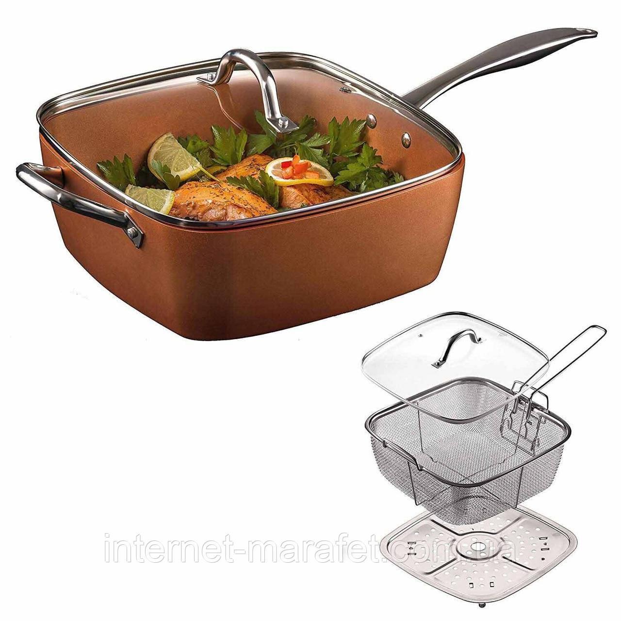 Сковорода фритюрница Copper Pan  8 в 1 3.5 л