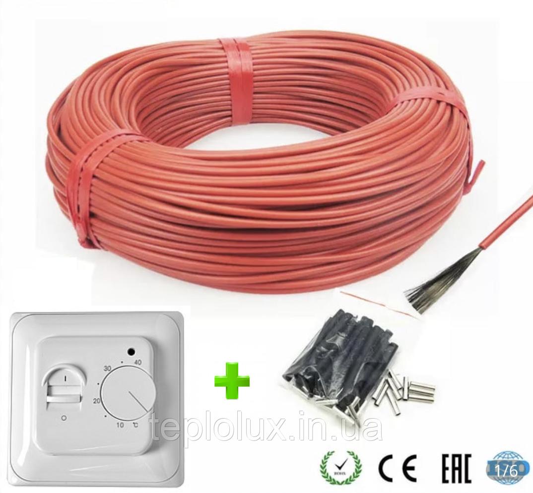 7м2. Комплект для теплого пола из нагревательного карбонового кабеля 33 ом/м 12К (70метров) с терморегулятором