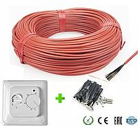 7м2. Комплект для теплого пола из нагревательного карбонового кабеля 33 ом/м 12К (70метров) с терморегулятором, фото 1