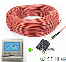 8м2. Комплект для теплого пола из нагревательного карбонового кабеля 33 ом/м 12К (80метров) с терморегулятором