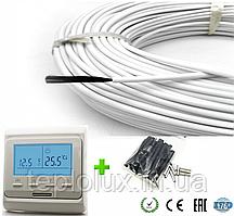 10м2. Комплект для теплого пола из карбонового кабеля 33 ом/м 12К (100метров) с терморегулятором