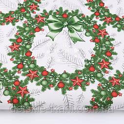 """Ткань новогодняя """"Рождественские веночки"""" красно-зелёные, №3036рас"""