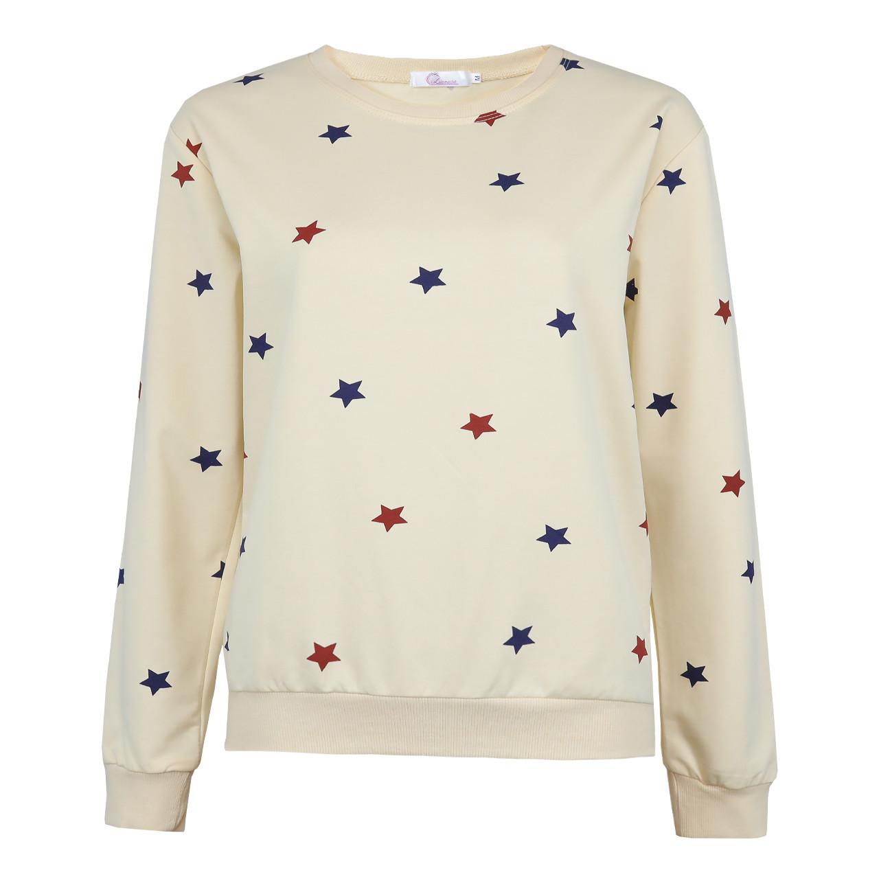Бежевый стильный свитшот женский, весенне-осенний молодежный свитшот Звезды