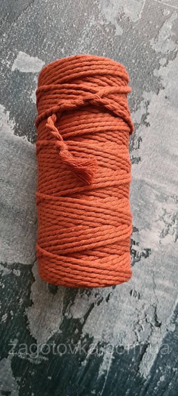 Эко шнур хлопковый крученный 4мм №33 Кирпич