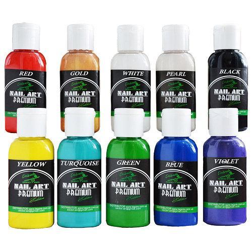 Краска акриловая для ногтей на водной основе PREMIUM* NAIL-ART* WATER SERIES (НАБОР 10Х30ML)