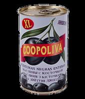 """Маслины """"Coopoliva"""" черные с косточкой 370 г"""