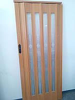 Дверь гармошка остекленная с декором вишня 501 с башенкой 860х2030х12 мм