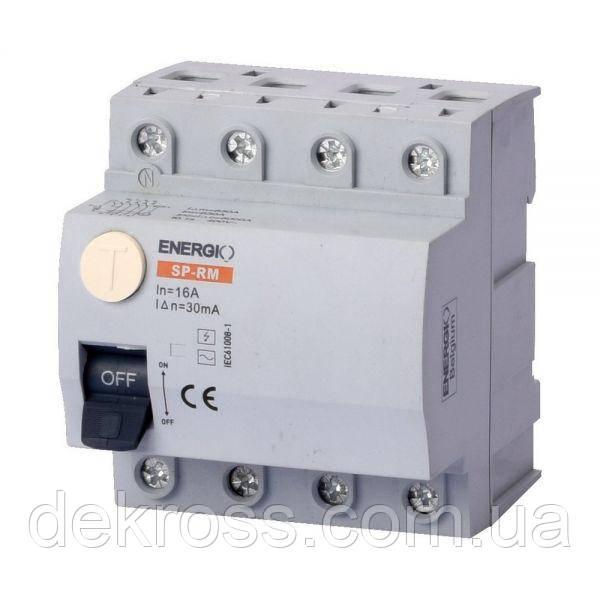 УЗО ENERGIO SP-RM 4P 16А 30мА тип AC Электромеханический