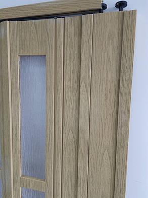 Двери гармошкой полуостекленные 1020х2030х12мм  дуб 269, фото 2