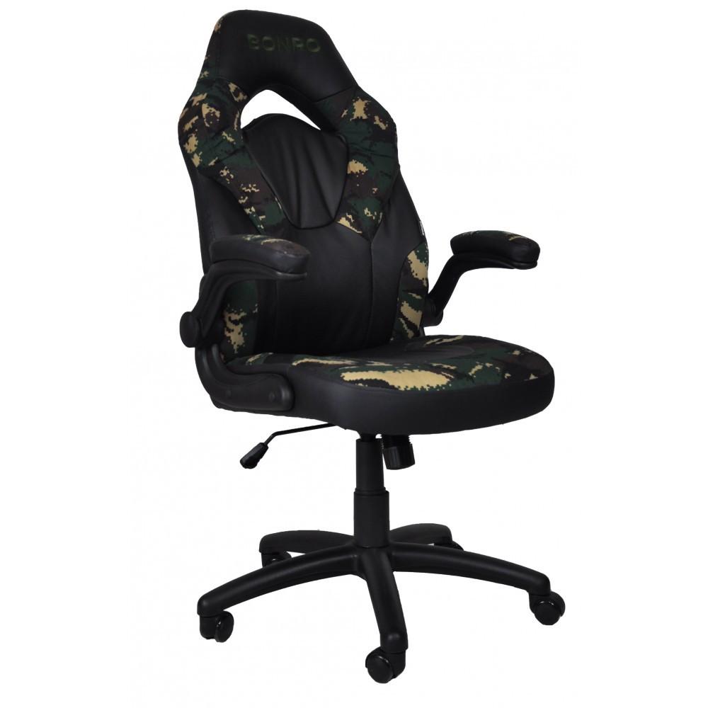 Кресло игровое геймерское с высоким подголовником с функцией блокировки сиденья и спинки камуфляж