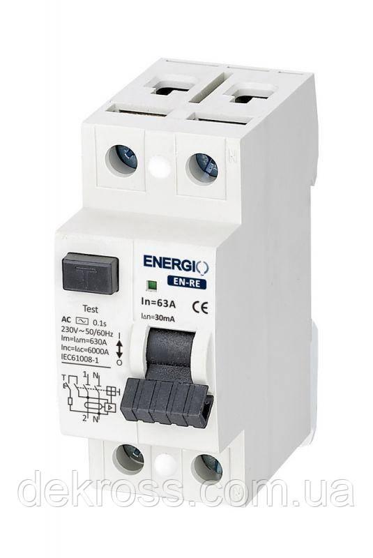 УЗО ENERGIO EN-RE 2P 63А 30мА тип AC