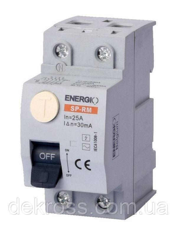 УЗО ENERGIO SP-RM 2P 25А 30мА тип AC Электромеханический