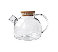 Чайник заварник стеклянный Стокгольм прозрачный с бамбуковой крышкой 600 мл, фото 1