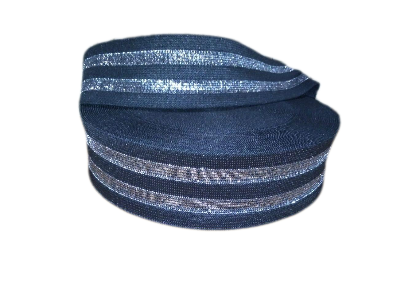Резинка люрикс 5 см чёрная с двумя полосками люрикса