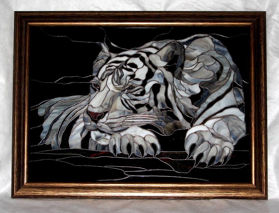 Картины из стекла белый тигр