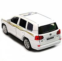 Машинка ігрова автопром «Toyota Land Cruiser» метал, біла, 14 см, (світло, звук, двері відкриваються) 6608, фото 6