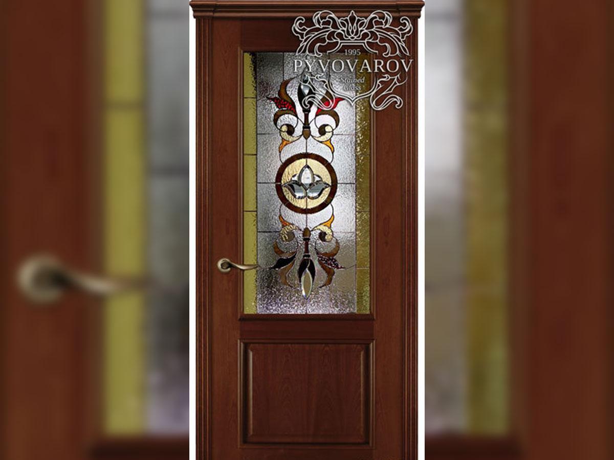 Витражные двери из кусочков цветного стекла в технике Тиффани