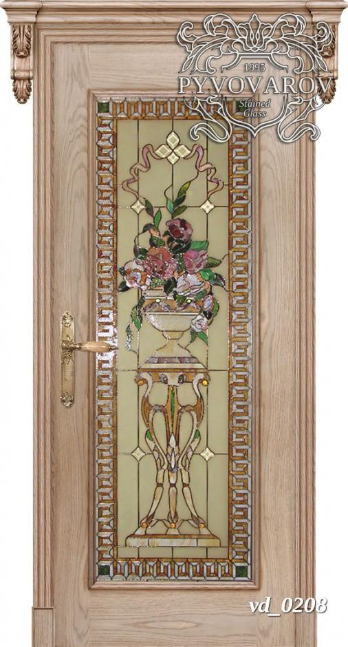 Витраж цветы в межкомнатные двери
