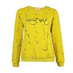 Кофта жіноча трикотажна жовта, оригінальний світшот Lianara