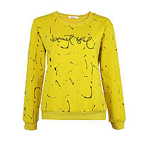 Женский желтый свитшот трикотажный, стильный модный оригинальный свитшот