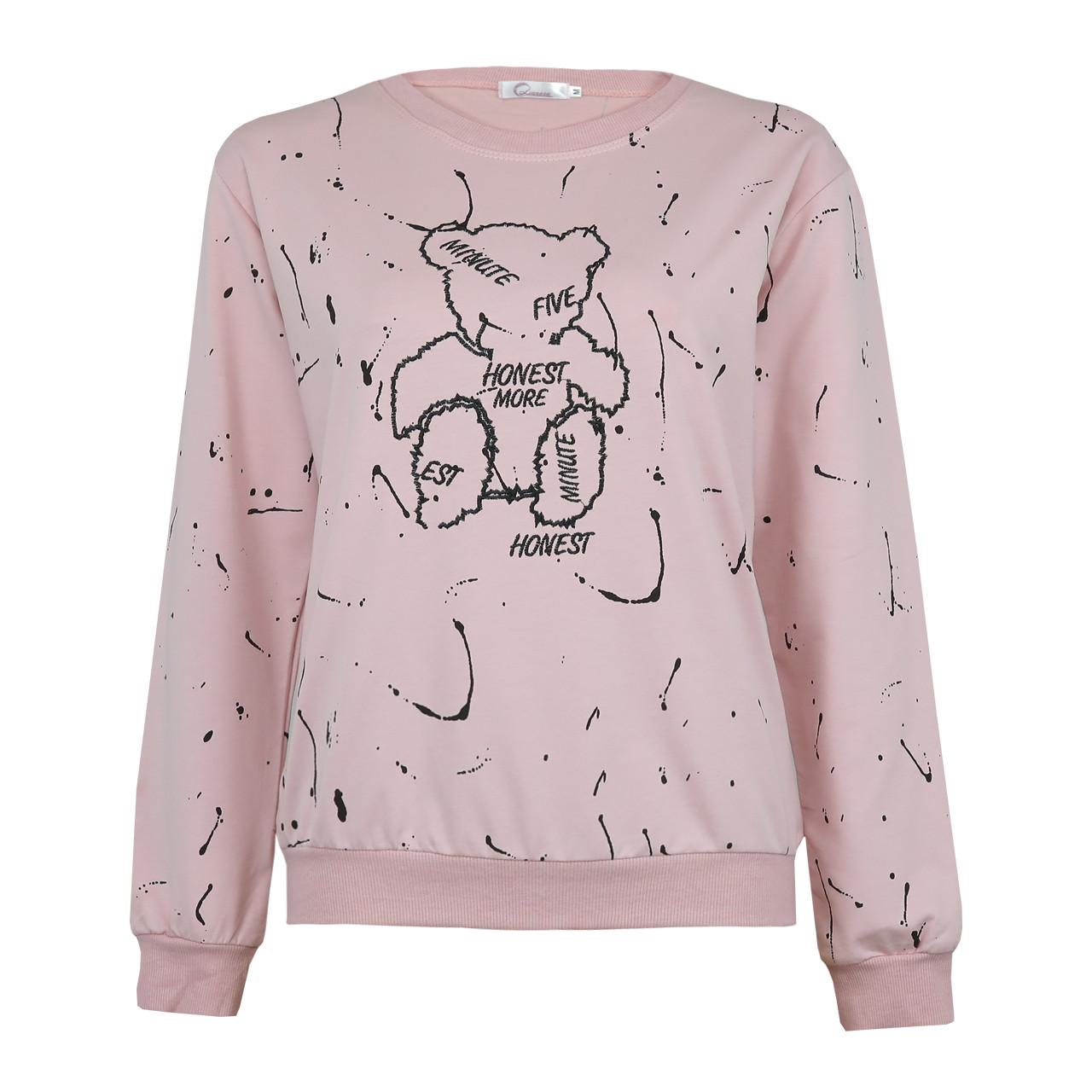 Кофта женская стильная розовая, демисезонный свитшот Lianara