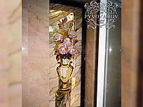 Витраж цветы на окна в ванную комнату