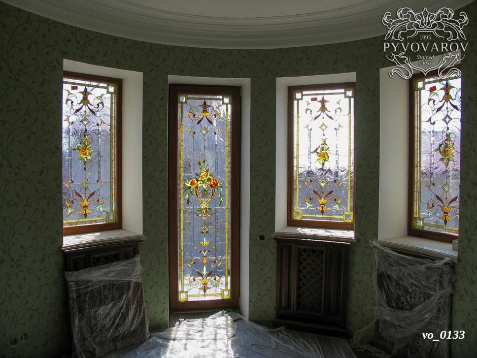 Витраж цветы на окна