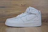 Кроссовки распродажа АКЦИЯ последние размеры Nike Air Force высокие белые кожа  550 грн 37(23.5см), люкс копия, фото 2
