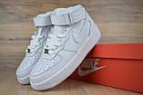 Кроссовки распродажа АКЦИЯ последние размеры Nike Air Force высокие белые кожа  550 грн 37(23.5см), люкс копия, фото 4