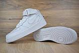 Кроссовки распродажа АКЦИЯ последние размеры Nike Air Force высокие белые кожа  550 грн 37(23.5см), люкс копия, фото 5