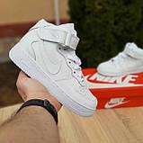 Кроссовки распродажа АКЦИЯ последние размеры Nike Air Force высокие белые кожа  550 грн 37(23.5см), люкс копия, фото 8