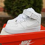 Кроссовки распродажа АКЦИЯ последние размеры Nike Air Force высокие белые кожа  550 грн 37(23.5см), люкс копия, фото 10