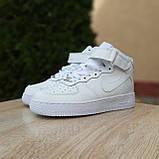 Кроссовки распродажа АКЦИЯ последние размеры Nike Air Force высокие белые кожа  550 грн 37(23.5см), люкс копия, фото 9