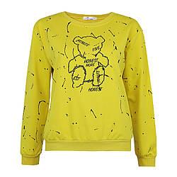 Молодіжний світшот жовтий жіночий, яскравий стильний оригінальний світшот Lianara Sweatshirt