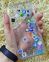 Чехол с плавающими иконками приложений для iPhone XS Max, Прозрачный