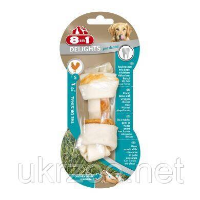 Лакомство для собак 8in1 Delights Кость для чистки зубов Pro Dental 11 см, 35 г (курица)