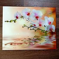 Стеклянная плитка Орхидея белая декор 60х90