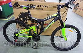 """Велосипед горный двухподвесный AZIMUT POWER 24"""" GFRD, черно-салатовый"""