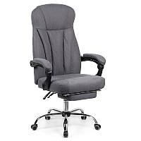 Кресло офисное руководителя Smart с подставкой для ног textile grey