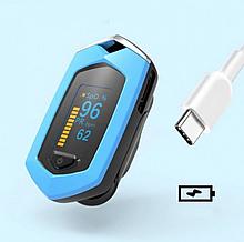 Пульсоксиметр пульсометр  на аккумуляторе Boxym oSport  Сертифицирован  Blue
