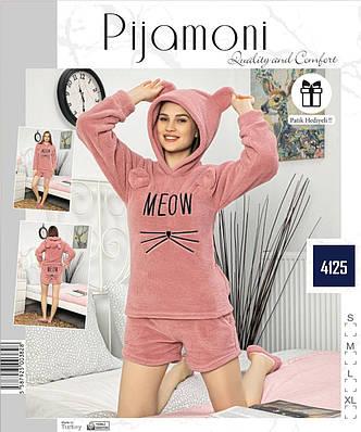 Жіноча піжама флісова з довгим рукавом і шортами Meow пудра
