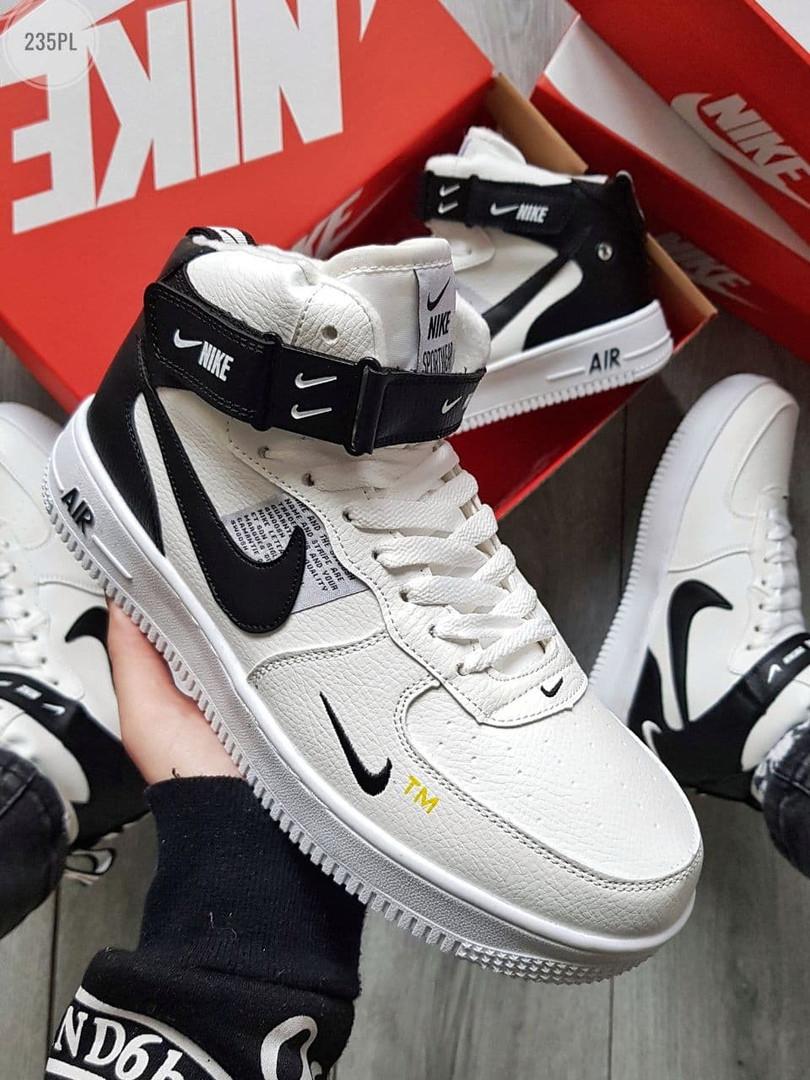 Мужские кроссовки Nike Air Force High White/Black Winter (бело-черные) ЗИМА 235PL