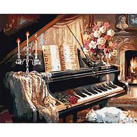 Картина раскраска по номерам на холсте - 40*50см Идейка КН2506 Музыкальный вечер у камина