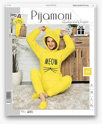 Жіноча піжама флісова Pijamoni Турція Meow yellow