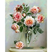 """Картина по номерам. Букеты """"Хрупкие розы"""" 40*50см * KHO2034"""